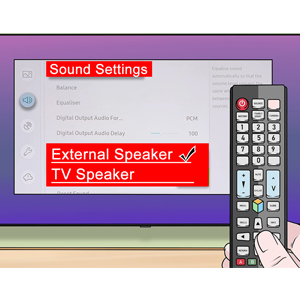 "Within TV Menu Settings, select ""External Speaker"" or ""Audio Out""."