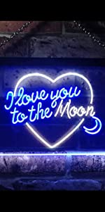 ADVPRO LED Neon sign light-ing Dual-color Lovers Valentines heart sweet I Love You to the Moon