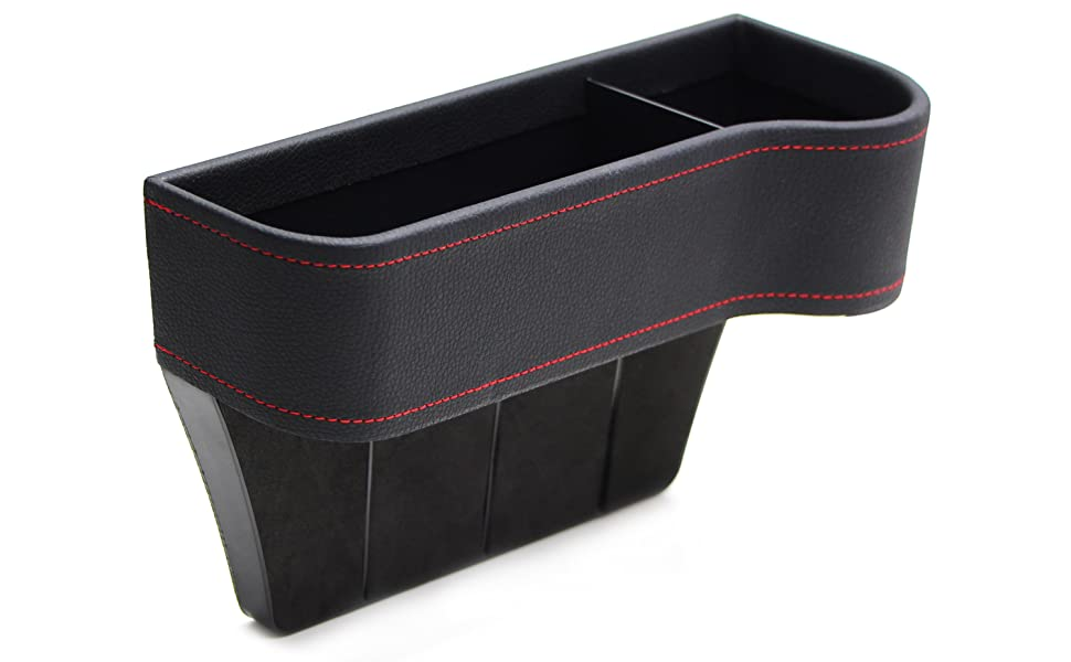 Black Leather Console Side Pocket Organizer, Car Seat Catcher w/Cup Holder