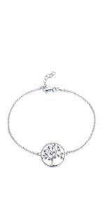 Bracciale da donna, in argento Sterling 925, con albero della vita e albero della famiglia della vita