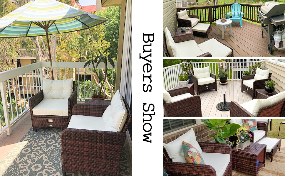 patio outdoor chiar with ottomans