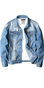 denim jacket for men ripped slim fit jean biker casual plus size big tall holes distressed trucker