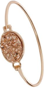 Simulated Druzy Needle Drops - Gold-Tone Threader Upside-Down Hoop Dangle Earrings for Women
