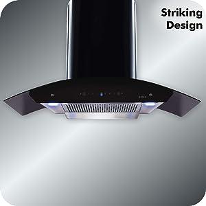 Elica 90 cm 1200 m3/hr Filterless Auto Clean Chimney with Installation Motion Sensor Control, Black