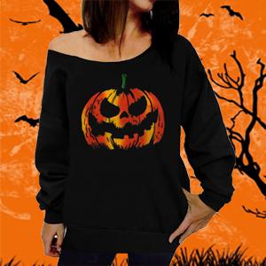 Womens Moon Pumpkin Scary Halloween One Shoulder Bardot T Shirt Ladies Baggy Top