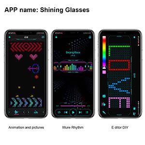 Programmable Bluetooth RGB Fullcolor Glowling LED Glasses, Luminous LED Glasses