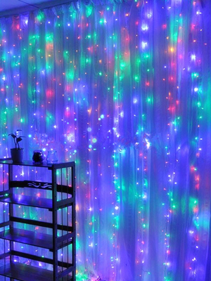 Multi-Colored,7.9Ft x 5.9Ft String Lights Curtain,8 Modes USB Powered Color Changing Lights for Party Wall Decorations,Sound Activated Function Can Sync with Any Voice
