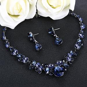 dark blue jewelry necklace set for mom, women, prom