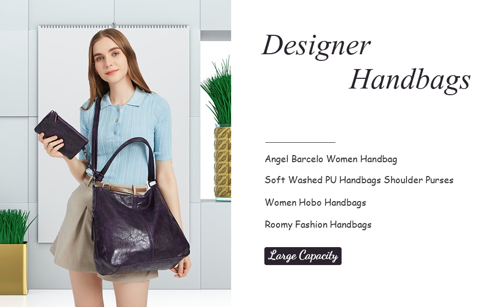 Angel Barcelo Soft Leather Purses Handbag Hobo Bag