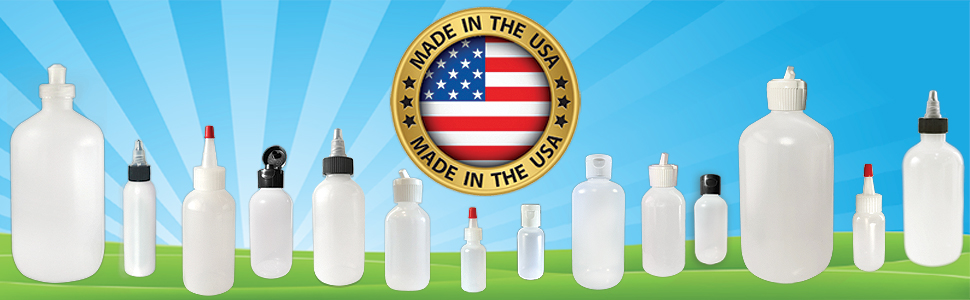 Our premium line of dispensing bottles comes in a variety of sizes and styles, all made in the USA.