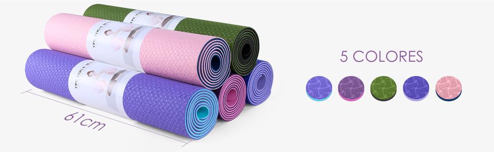 Dustgo Esterilla Yoga Colchoneta de Yoga Antideslizante con Material ecológico TPE con líneas corporales Yoga Mat diseñado para Entrenamiento y ...