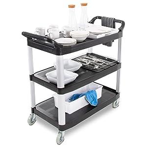 Tubstr service cart, all purpose three tier utility cart, dual handle plastic cart, heavy duty cart
