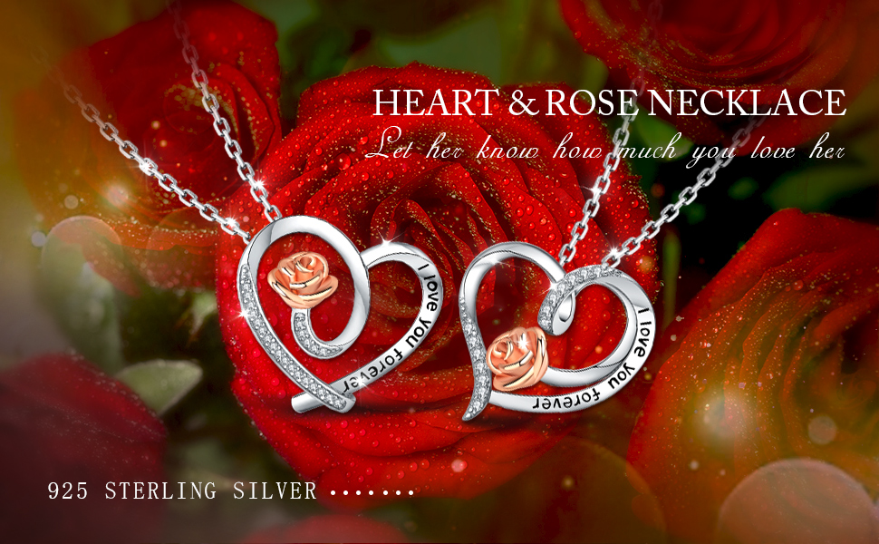 Sterling Silver heart rose flower pendant necklace