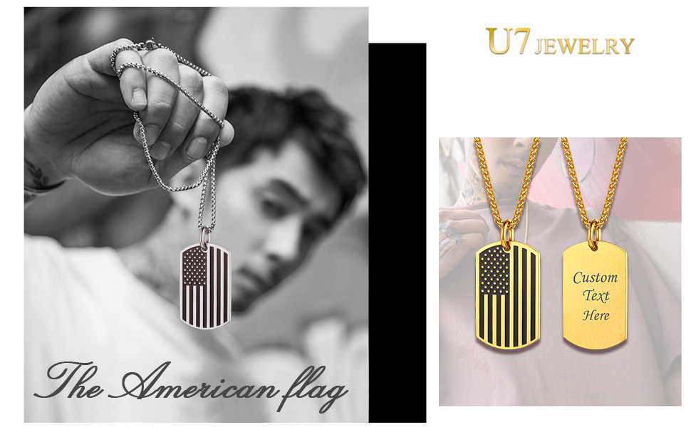 US Flag Subdue Dog Tag Necklace