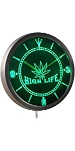 ADVPRO LED Neon Clock light-ing Dual-color GROW Marijuana CBD Open Hemp High Life Weed Green High