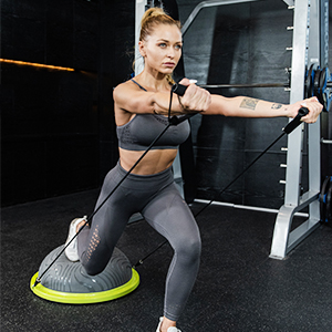 balance ball with resistance bands