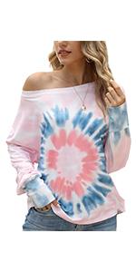 Tie Dye Off Shoulder Shirts for Women
