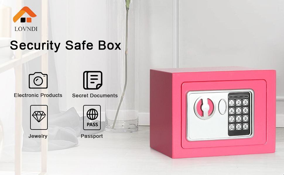 0.17 Cubic Feet Digital Deposit Box for Home Office Hotel Business Lock Box for Cash Jewelry Storage Lovndi Electronic Security Safe Box Black
