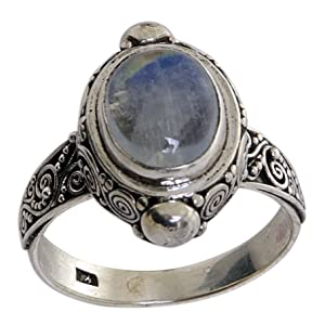 Oval Rainbow Moonstone .925 Sterling Silver Cocktail Ring