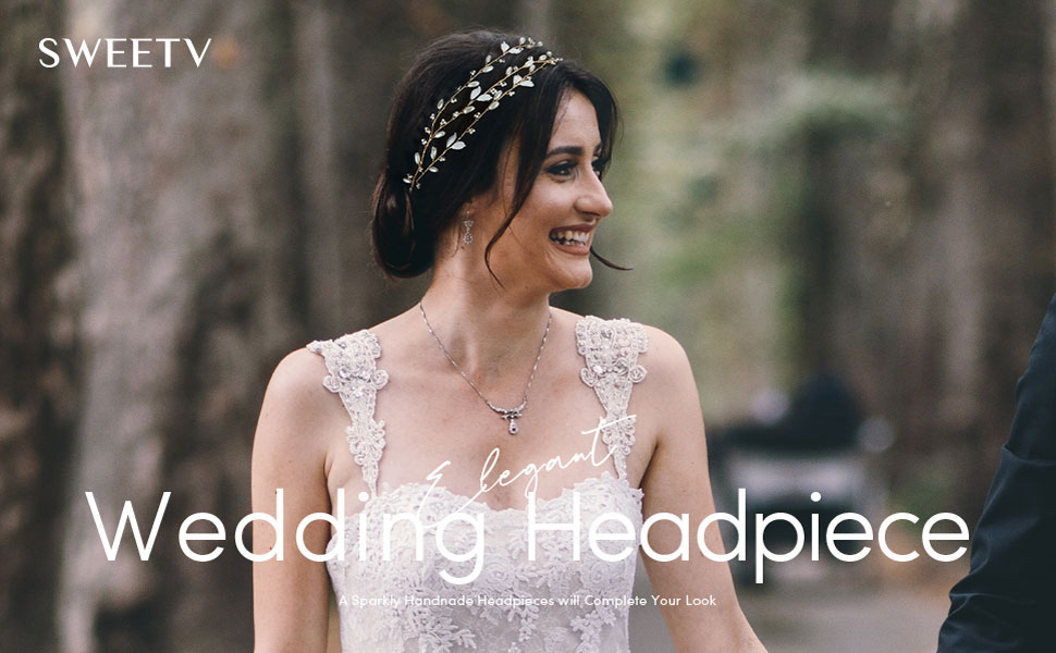 SWEETV Pearl Wedding Hair Vine Leaf Bridal Headpieces for Wedding