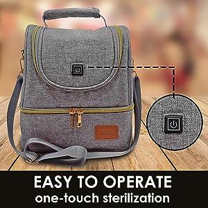 uv-c sterilizer bag sanitizing bags diaper baby bottles backpack