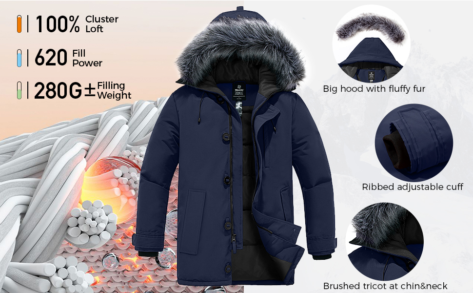 Men's Warm Puffer Jacket Winter Snow Coat Thickened Hooded Parka