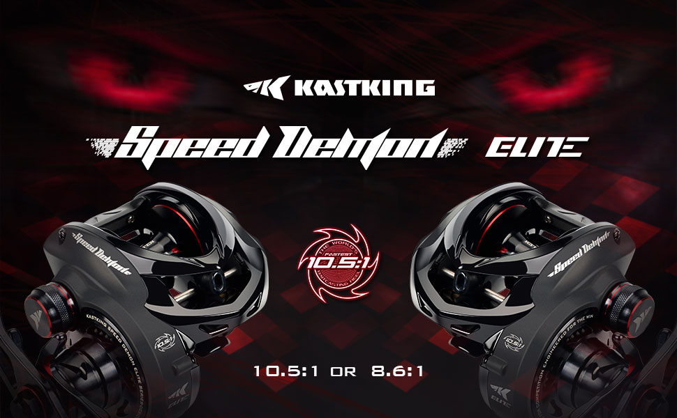 2 KastKing Speed Demon Elite baitcasting reel 10.5:1 gear ratio and 8.6:1 gear ratio .
