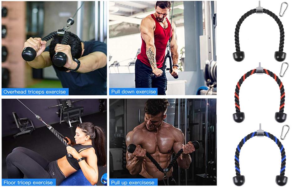 Cuerda de nailon para tríceps, 70/90 cm, para bíceps, tríceps, fitness, con mango doble antideslizante para entrenamiento y fitness