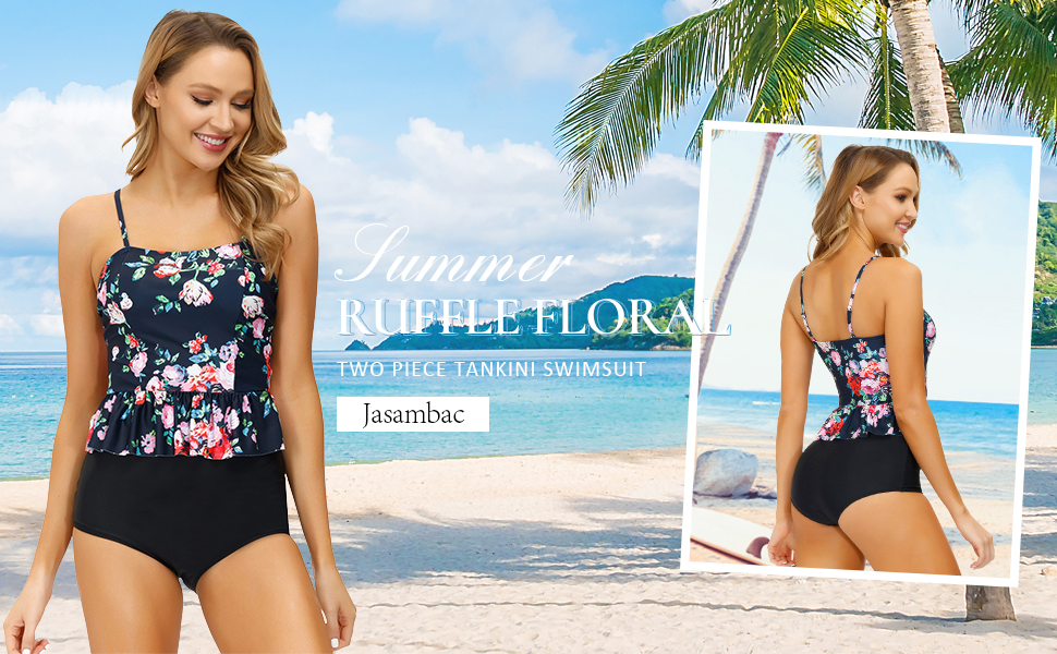 JASAMBAC Womens Strappy Tankini Swimsuits Drawstring Bathing Suits Two Piece Floral Print Swimwear with Shorts