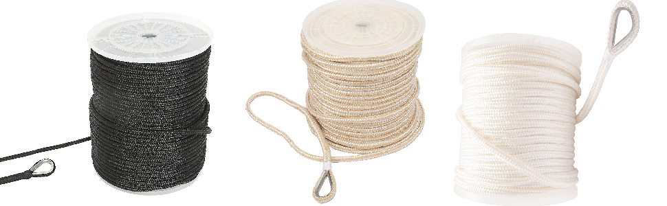 NovelBee 1/2 Inch X 150 Feet Double Braid Nylon Anchor Line with Stainless Steel Thimble and Chuck