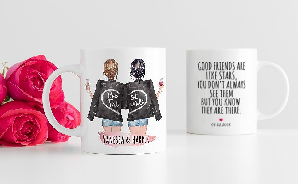 custom best friend coffe mug personalized bff birthday long distance friendship women name love