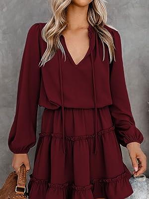 Women's Casual Split Tie V Neck Long Puff Sleeve Ruffle Mini Dress