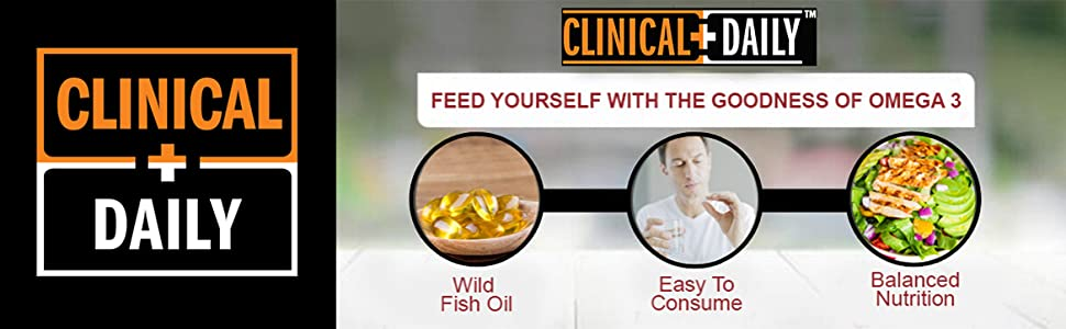 Clinical Daily Logo above images of benefits of Omega 3 with DHA gummies