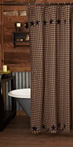 Navy Star Shower Curtains primitive country rustic Americana VHC Brands bath cotton lined check star