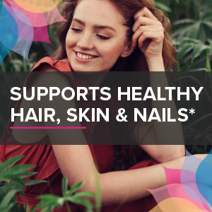 supports healthy, hair, skin & nails