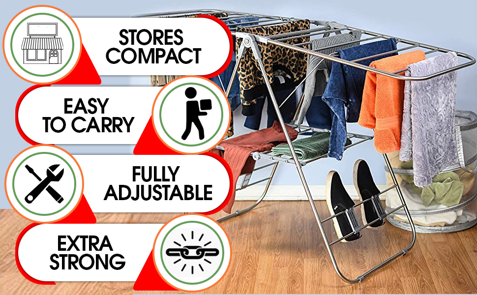 Stores Compact, Easy to carry, Fully Adjustable, Extra Strong