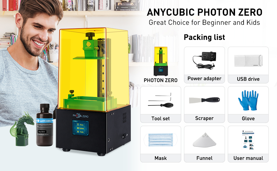 LCD Resin 3D Printer Assembled with 16X Anti-aliasing Function and UV Cooling System /& Upgraded UV Module ANYCUBIC Photon Zero 3D Printer Build Size 3.81x2.12x5.9 Black