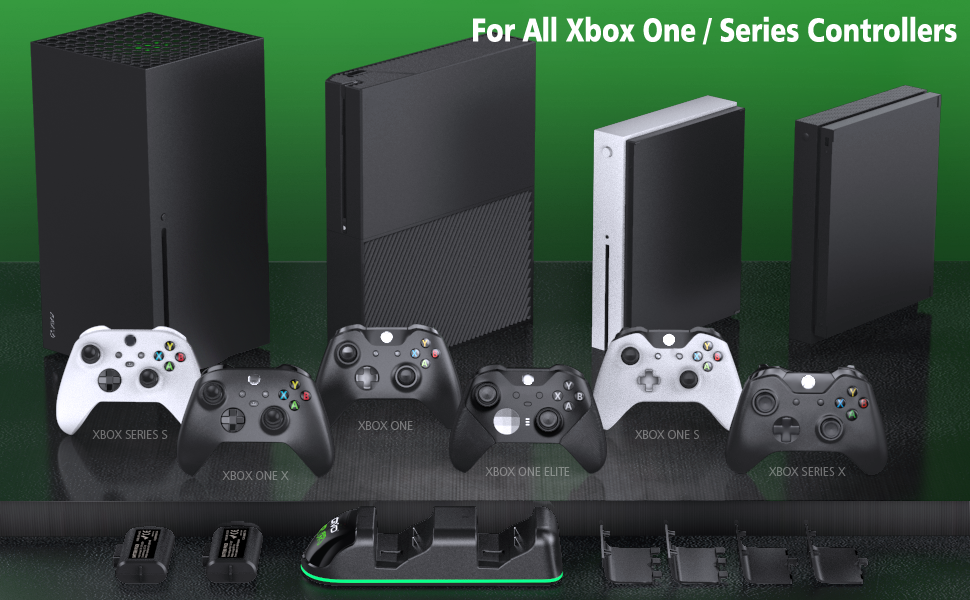 xbox one series elite controller charger charging dock station with rechargeable battery packs