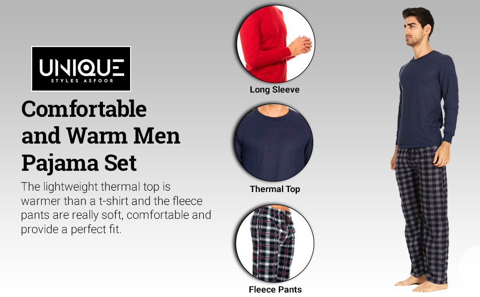 UNIQUE STYLES ASFOOR Mens Warm Christmas Pajamas Thermal PJs Set Gifts for Men