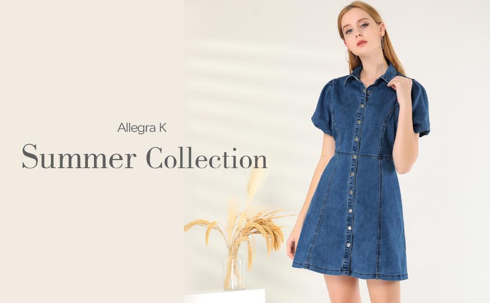 Allegra K Women's Puff Short Sleeve Button Front Mini Jean Denim Dress