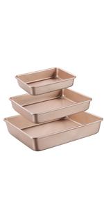 nonstick baking sheet 3 piece baking pans set bakeware set rectangle baking pans deep baking tray