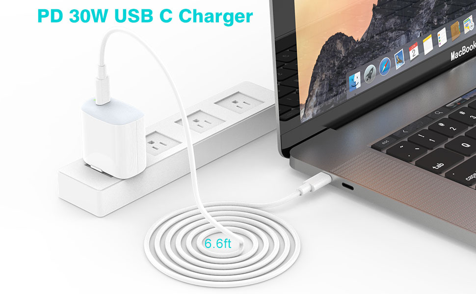 30W USB C Charger for MacBook 12 inch, MacBook Pro, MacBook Air, 2018 iPad Pro 12.9, 11, Samsung Galaxy S10, S9, Google Pixel, LG, Moto, Foldable, LED ...