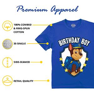 size chart  paw patrol shirt