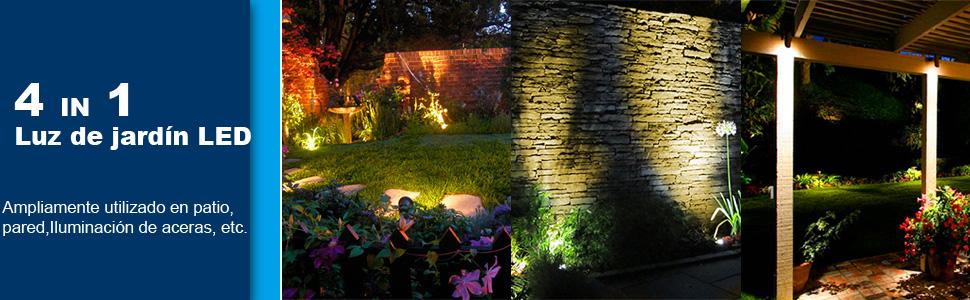 Iluminación de Jardín, CHINLY LED Garden Light, 3W Blanco Cálido IP65 a Prueba de Agua, Proyector de Jardín, Cable de 20 m con Enchufe, Para Césped al Aire Libre, Patio, Camino, Jardín. (