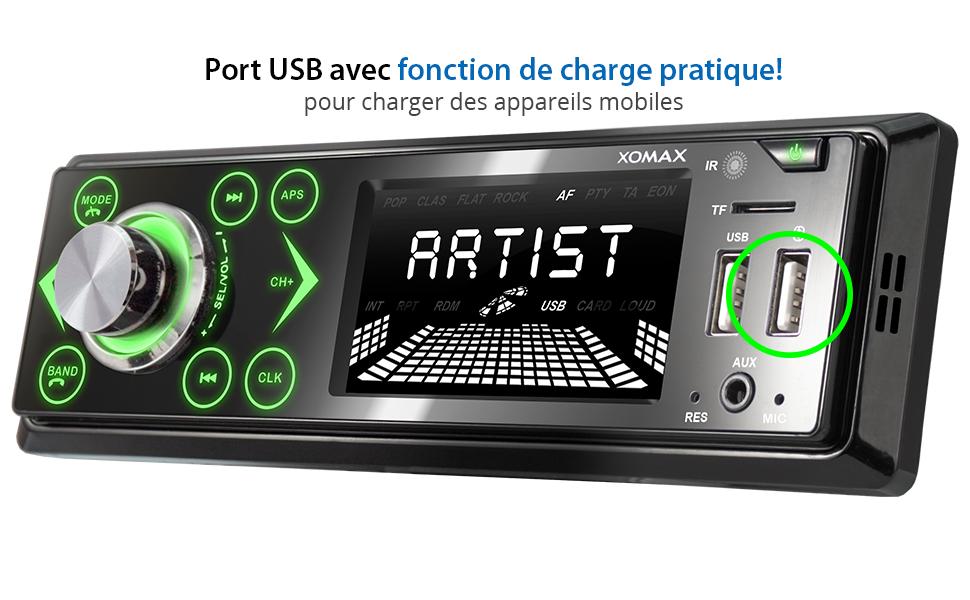 jusqu/à 128 GB jusqu/à 128 GB XOMAX XM-R272 Autoradio avec Connexion la Bluetooth et Musique I FM I Port USB et Fente pour Cartes SD I MP3 WAV I Entr/ée AUX I 1DIN I Tiroir m/étallique