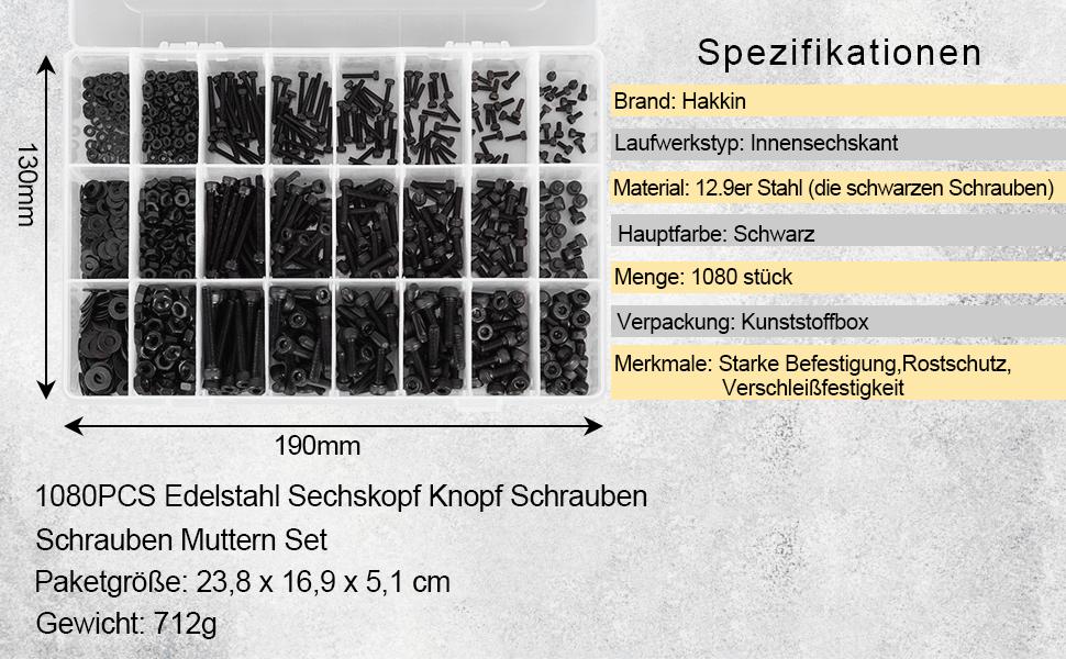 190pcs Set M2 Edelstahl Schrauben und Scheiben Hardware Edelstahl Befestigungselement Innensechskantschraube Unterlegscheibe Muttern Schl/üsselsatz