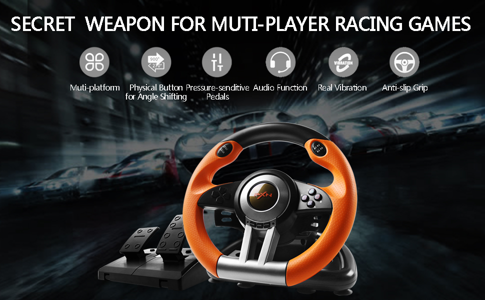 180 Degree Dual-Motor Vibration Driving Gaming Racing Wheel with Responsive Pedals for PC/PS3/PS4/XBOX ONE/Switch PXN-V3II (Orange) d575d097 ed6a 49c4 8116 09c688dd4242