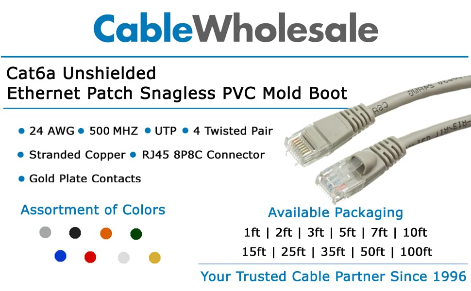 100 Foot Color:Yellow Cat6a Yellow Ethernet Patch Cable 500 MHz Snagless//Molded Boot Sonovin