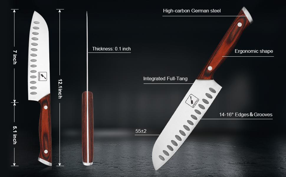 wood handle santoku knife
