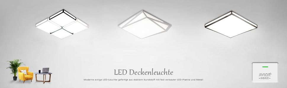 Schlafzimmer Avior Home LED DeckenleuchteElegant Tageslicht Schwarz 60W f/ür Wohnzimmer K/üche
